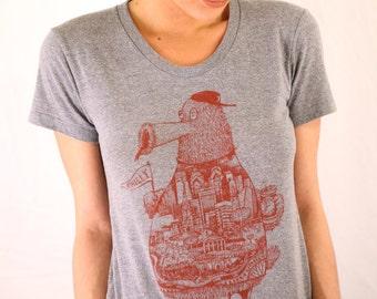 FREE SHIPPING -- WOMENS Philadelphia Phanatic -- American Apparel Tee -- Paul Carpenter Art