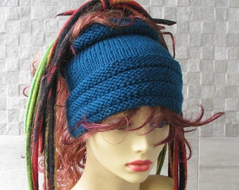 Blue Dreadlocks headband, dreads wrap dread tube Tam Hat for Dreads Blue Turquoise Knitting Headband