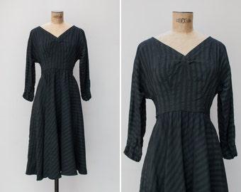 1940s Dress - Vintage 40s Early 50s Green & Navy Striped Dress - Mount Ulía Dress