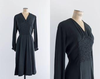 40s Soutache Black Dress - 1940s Clothing - Sinuosa Dress
