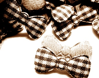 "100pcs x 7/8"" Brown Gingham Cotton Bow Padded/Appliques"