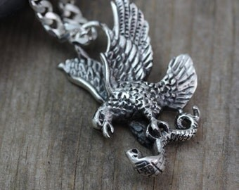 Sterling silver Eagle Necklace, Mens Necklace, Silver Eagle, Choose Chain, sterling silver Man Jewelry, American Eagle.