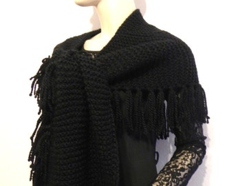 Black wool scarf hand-knitted accessories fringes of fashion mixed woman or man CHRISTMAS present