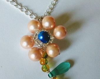 Flower pendant, pearl jewellery, gift idea, statement pendant, pearls flower, Natashasdesignz, mother's day