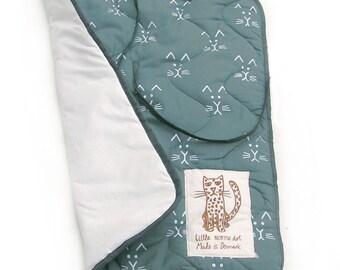 Changing pad, Cat print,  Dusty blue