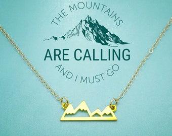 Gold Mountains Necklace, Mountain Range Necklace, Mountain Jewelry,  Rock Climbing Necklace, Gold Mountain Pendant, MountainLovers, Rockies