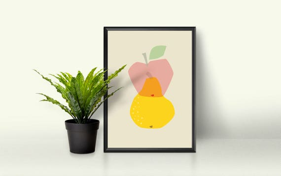 Geometric Simple Mid Century Modern Bright Yellow Pear and Apple Transparent Kawaii Cute Modern Trendy Print - Digital Instant Download
