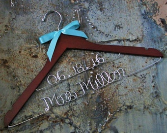 FREE GIFT Deluxe Wedding Dress Hanger with satin ribbon, Last Name and Wedding Date  (free shoe decals) High Quality Bride hanger