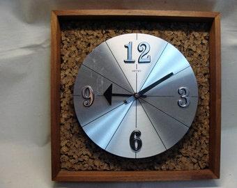 Mid Century Modern Welby Danish Modern Teak Cork Clock Works Great Elgin German Movement
