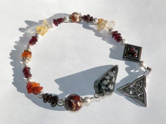 "Carnelian, Garnet & Citrine, Snowflake Obsidian Pendulum ""Fire"" Divination Tool Divination Ritual Hand Made"