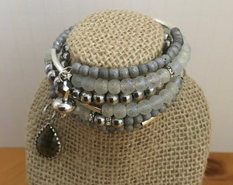 Memory Wire Beaded Charm Bracelet