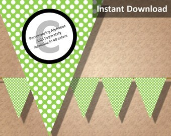 Lime Green Polka Dot Bunting Pennant Banner Instant Download, Kids Party Decorations, DIY Printables