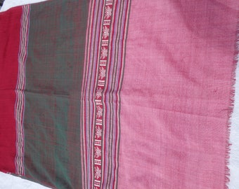 Vietnamese cotton fabric, wrap, sarong, Pink, red and green, Hand woven.