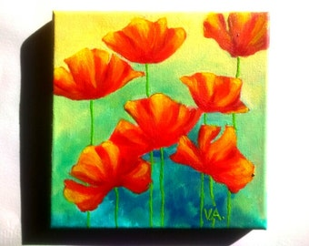 Red Poppies Painting Canvas Wall Art Decor Living Room Floral Painting Small Art Red Poppy Gift for Mom Flowers Painting Original Artwork