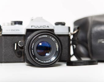 Fujica ST 605 35mm Camera 1970s SLR Photography Leather Case