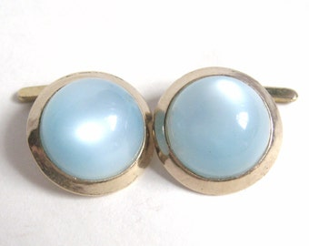 DECO Vintage Gold Button Pearlescent Blue Lucite CABOCHON Link Cufflinks Cuff Links Original Card Edwardian Downton Gatsby Statement Jewelry