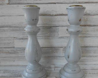 Gray Distressed Candlesticks-Vintage Painted Candle Holders - Farmhouse/Cottage Candle Holders - 2 Wood Candlesticks- Table Decor