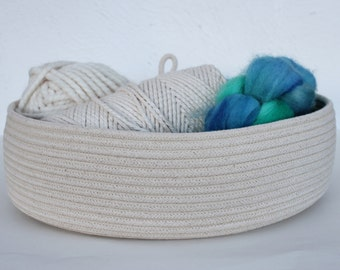 Handmade Oval Cotton Basket in Natural - Mid size