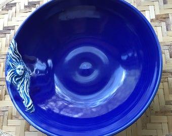 Handmade Mermaid Sculpture Bowl Cobalt Blue m