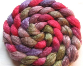 Merino/Tencel Roving (Combed Top) 4 oz. Hand Painted red, Taupe, Purple