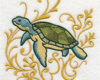 Turtle & Echo Embroidered Towel | Flour Sack Towel | Linen Towel | Dish Towel | Kitchen Towel | Hand Towel | Embroidery | Beach House
