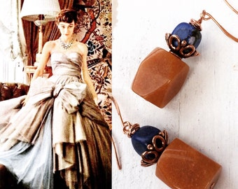 HANDMADE VINTAGE Earrings Precious Stones Caramel and Lapis