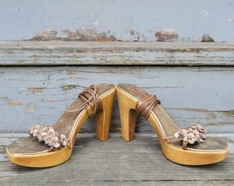 Vintage 90s Esprit Strappy Lace Up Chunky Heels / Platform / Women's US Sz 8M