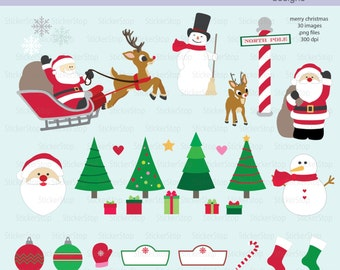 Merry Christmas Set - 30 images PNG Digital Clipart - Instant download - santa, snowman, reindeer, sleigh, north pole, tree, stocking