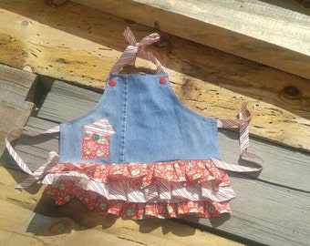 Denim/flowers/stripes/apron/girl/pockets/ruffles/toddler/handmade/buttons/red