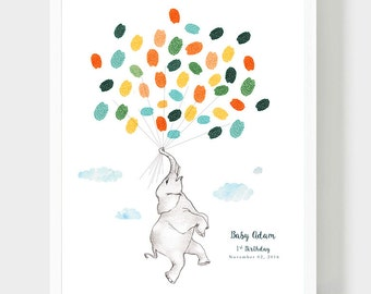 Еlephant Birthday Guestbook, Еlephant Baby shower Thumbprint Guestbook, Еlephant with balloons, Baptism Personalized Gift, PDF