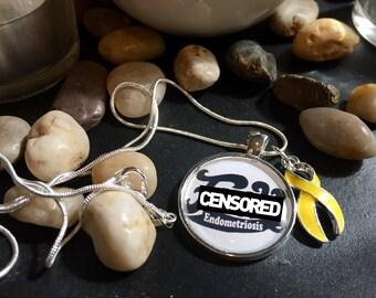 F*** Endometriosis / Screw Endo Necklace - Yellow Ribbon Charm - Endo Warrior / Gift