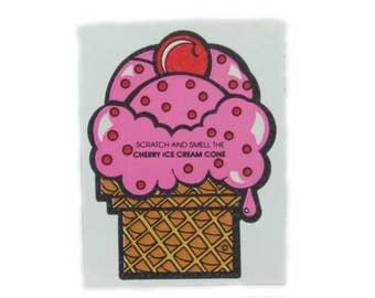 Vintage 80's Mello Smello Cherry Ice Cream Cone Scratch and Smell Sticker