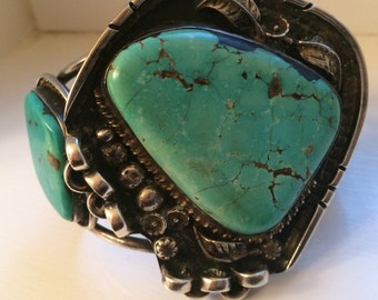 Massive old pawn Indian turquoise sterling cuff bracelet