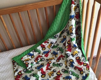 Tractor pattern w super soft minky color of your choice