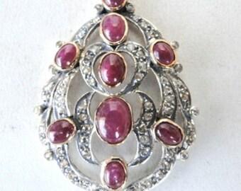 Victorian Diamond & Ruby 14 Ct Gold Silver Pendant