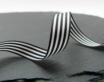 Black And White Stripe Ribbon 9mm Wide Berrisfords Per Metre ---1---