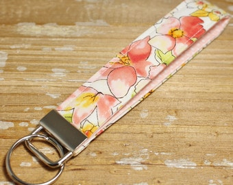 Floral Key Fob with Confetti Dot Interior - Coral and Blush - Wristlet or Mini Length