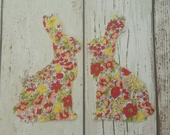 Easter Bunny Rabbits in spring foral fabric, die cut, quilting, applique 10.5 x 6.5 cm large size