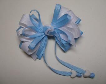 Baby Blue Hair Bow Sweetheart HEART School UNIFORM Boutique Streamers Tails Toddler Girl