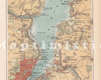 1896 The City and the Harbour of Kiel -Baltic Sea, Province of Schleswig-Holstein, Prussia, Germany in the 19th Century Original Antique Map
