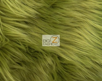 """Solid Shaggy Faux Fur Fabric - OLIVE - Sold By The Yard 60"""" Width Costumes Accessories Clothing"""