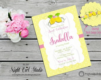 Lemonade Birthday Party Invitation, Pink Lemonade Party Invitation, Lemonade Invite, Lemonade Birthday