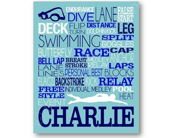 Swimmer Typography Art, Personalized Swimmer Poster, Swimmer Canvas, Gift for Swimmer, Swimming Team Gift, Swimmer Wall Art, Swimming Print