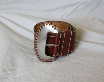 1980s Vintage Leather Belt / Wide Leather Belt / 80s Womens Leather Belt / Silver Buckle Belt / Cowgirl Leather Belt M 27/31
