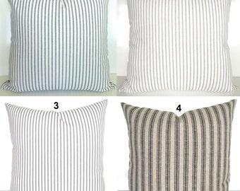 TICKING STRIPE PILLOWS French Gray Pillow Covers Black Ticking Stripe Pillow Covers Navy Blue Ticking Stripe Pillows 16 18x18 20 All Sizes