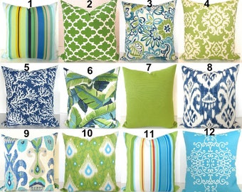 Green Outdoor Pillows Lime green Pillow Blue Outdoor Throw Pillow Covers Lime Teal Outdoor pillow Covers 16 18x18 20 Green Tropical Pillows
