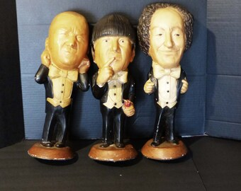 """BIG 1980s three stooges statues / 18"""" tall / Larry Moe Curly / Heavy store display / Norman Mauer / Chalkware Statues / American vaudeville"""