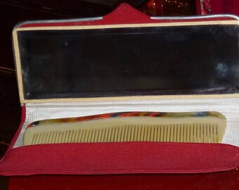 art deco 30's celluloid bakelite comb and case