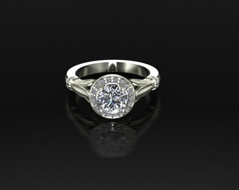 Women's Engagement ring pave diamond halo with 1 carat Round brilliant White Sapphire center