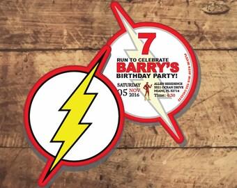 The FLASH BIRTHDAY INVITATION, superhero party, dc comics Flash Birthday Party, Barry Allen, The Flash, Speedster